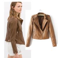 PU leather jacket women high street  jaqueta couro Motorcycle style jaqueta de couro feminina 2014 new autumn vestidos femininos