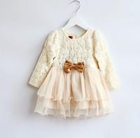 2014 autumn new arrival children dress, Girls golden bow lace jacquard dress princess dress, flower girl dresses for weddings