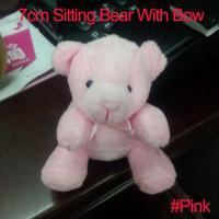 <#Pink 30pcs/lot 7cm> Cartoon Plush Sitting Bear Witb Bow Plush Dolls Craft Key/Phone/Bag/Applique/cute/baby Stripes