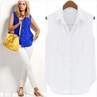 New Women Office Wear Sleeveless Turn-Down Collar Chiffon Blouses Single breaste Loose Sexy Summer Blusas Femininas Shirts 6918
