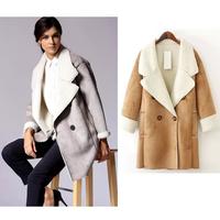 Winter coat women turn over collar jaqueta feminina  2014 new fashion casacos femininos  free shipping