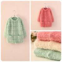New 2014 Autumn fashion Korean girls mohair Knitting long wool sweatercoat 3 colors 5pcs/lot