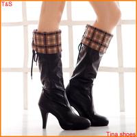 Free shipping hot sale women knee high  boots high heel western boots bowtie platform winter fur lining snow boots