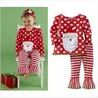 Original Mudpie Baby Girls Santa Tunic and Pant Christmas 2-pieces Clothing Set, Freeshipping