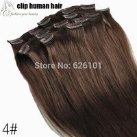 Full Head Set Clip In Hair Extensions 100% human hair weft medium brown 4# 15inch 70g