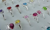 Beautiful!!wholesale lots 10pcs 925 Sterling Silver mixed cz rings 6-8