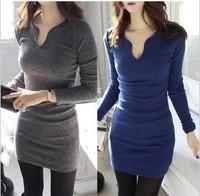 Korean sexy nightclub V collar moral bottom dress long sleeved hip package show thin tight dress