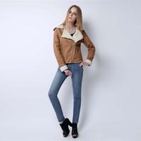 Women autumn winter double-faced fur coat 2014 new brown turn-down collar metal zip fur jacket plus size thicken coat DF14P007