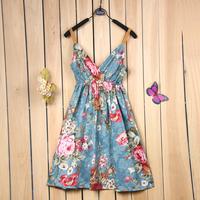 V-Neck high waist floral print spaghetti strap beach cotton dress summer suspender dress KZ337