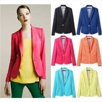 Blazer women ladies blaser feminino and jackets work wear mulheres preto black Candy Color Femal Suit One Button Cardigan Coat
