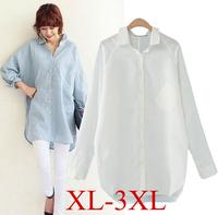 [B-378] 2014 New Hot  Casual Women's Blouse Women Fashion Loose plus size  Korean Long Section Baggy Long Sleeve Button Shirt