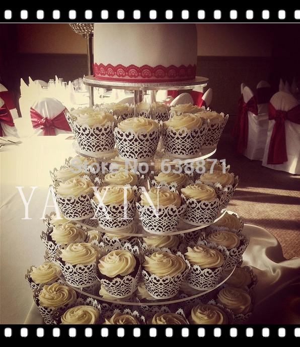 5 Tier Acrylic Cupcake Stand/Cupcake Wedding Pastry Display Shelf(China (Mainland))