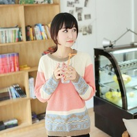 2014 south Korean brand New autumn/winter Ladies' pullover sweater College of the wind render women Knitting sweater stripe coat