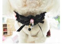 New arrival pet Lace diamond pearl pendant necklace jewelry lace pet dog collar necklace