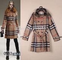 2014 New Top Fashion Brand Designer Women Classic Plaid Coat  Autumn & Winter Wool Coats With Real Raccoon Fur Collar S-XL