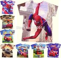 In stock! boys Baby kids girl cartoon spider man cars Fashion short sleeve tshirt 3d t shirt children's tops tees girls clothing