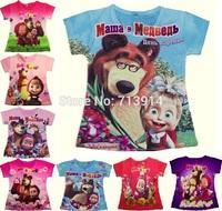 In stock! boys Baby kids girl cartoon masha and bear Fashion short sleeve tshirt 3d t shirt children's tops tees girls clothing