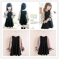 Hu sunshine wholesale new 2014 autumn girls Ploka Dot Long Sleeve Cotton Spliced Black chiffon patchwork Dress