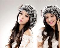 2014 new style quality excellent rex rabbit fur hat with fox  flower Women winter cap high quality beret hat