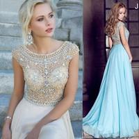 Free Shipping Worldwide Fashion 2014 Luxury Beaded Designer Long Short Sleeve Prom Dress