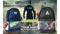 Wholesale 2014 new hot sale cheapest high quality Captain America  PU kids backpack children boys school bag blue ,black F-175