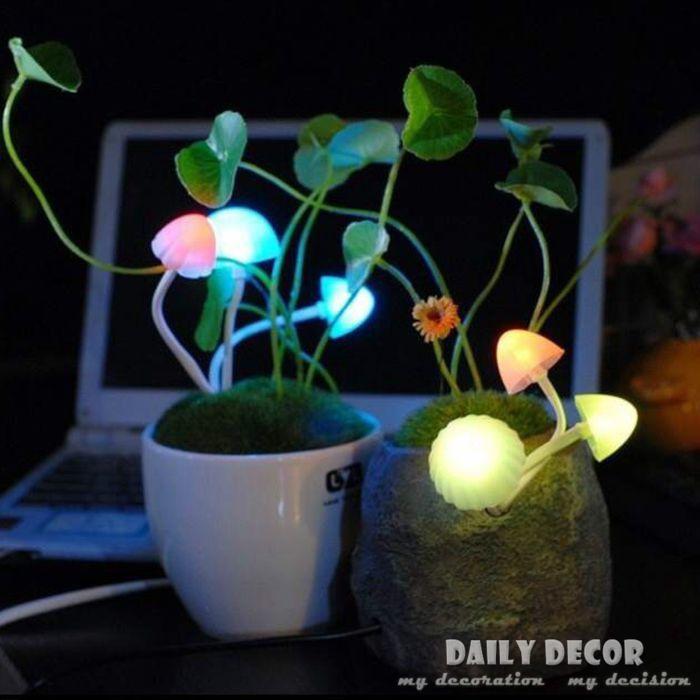 jardim luz mini mall : jardim luz mini mall:luz da noite pequeno vaso de plantas artificial iluminação led mini