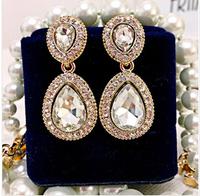 2014 New fashion big gem Luxurious drop earrings Alloy full crystal elegant fashion women earrings jewelry Free shipping