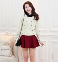 2014 South Korea New brand women Knitting coat autumn/winter Fashion candy color Peach heart Lady pullover Round collar sweaters