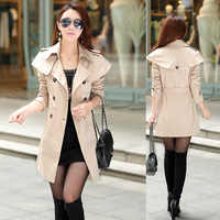 New women long trench coat dust coat double-breasted  autumn and spring slim trench coat women trench coats F0079