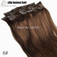 hair extension clip in 100% human hair chestnut brown 6# 7pcs set 15'' Full Head Clip in Human Hair Extensions