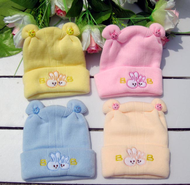 2014 New hot newborn child hat Super soft newborn baby hat Baby autumn winter hats Cute little rabbit sets cap free shipping(China (Mainland))