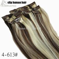 70gram 4-613# BROWN BLONDE Mixed Hair Extension 15'' Full Head Clip in Human Hair Extensions Clip in 100% Human Hair