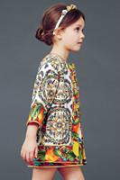 IN Stock !2014 new brand girls print dress, european style children princess dress, designer kids girls' dresses, 2-12Y