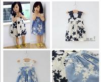 Hu sunshine wholesale new 2014 Summer fashion girls flower crochet embroidery blue white strap dress