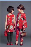 IN Stock High End 2014 autumn new italy brand girl dress floral brocade shift dress dobby children kids girl dress, 2-12Y