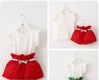 Hu sunshine wholesale New 2014 summer fashion girls Clothing set fly short lace t-shirt+ causal shorts clothing set(send belt)