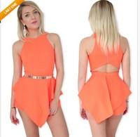 Explosion Europe sexy nightclub back waist hollow solid color dress Club dress CY089 mini bodycon dress frozen dress