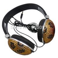 2014 Hot Free shipping(10pcs/lot) Wholesale Fashion Leopard jeweled headphone for computer
