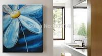 Framed Flower oil painting canva Abstract Blue Sunflower Artwork handmade Home Office Hotel wall art decor decoration Free Ship