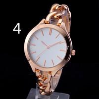 New 2014 Fashion Women Bracelet Watch Luxury Brand Kors Watches Full Steel Chain Style Rose Gold Women Dress Watch 7 Color