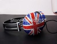 2014 Hot Free shipping(10pcs/lot) Wholesale Fashion UK Flag diamond earphone for cellphone