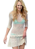 Free Shipping New Hot Crochet lace smock dress women casual summer  Knitted Beach dress