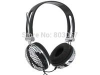 2014 Hot Free shipping(10pcs/lot) Wholesale Fashion zebra rhinestone earphone for cellphone