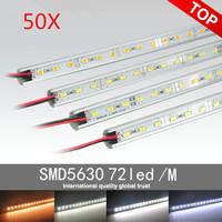 50m Free shipping 18~17W/pcs 5630 LED bar light,white/cold whtie/warm whtie/nature white 1M 72LED DC12V LED hard strip+U type