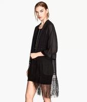 New Women Autumn Black Tassel Kimono Style Coat,Ladies Open Stitch Plus Size Loose Thin Chiffon Tippet Outerwear w93