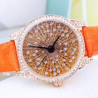 Dropshiping watch 2014 Fashion Luxury Women Rhinestone Watches Genuine Leather Band Clocks Wristwatches Smartwatch Women Watches