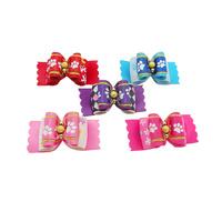 Armi store Handmade Beads Footprints Powder Pattern Ribbon Pet Dog Bow 22024 Puppy Head Flower Wholesale 60Pcs / lot