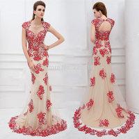 2014 Limited New Floor Length Gowns Long Evening Dresses Crystal Keyhole Back Cap Sleeve Dress Party Elegant Vestidos De Festabr