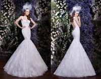 2014 New Figure-flattering Mermaid Wedding Dresses Romantic Floor Length Gowns Lace Straps And Open Back Vestido De Noivabridalk