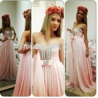 Vestido Longo Hot Sale 2014 Evening Dresses Dress Party Elegant Long Floor Length A-line Gown Beading Vestidos De Fiestabrida
